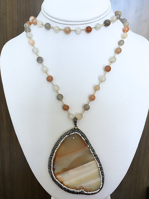 Double Wrap Beaded Stone Necklace