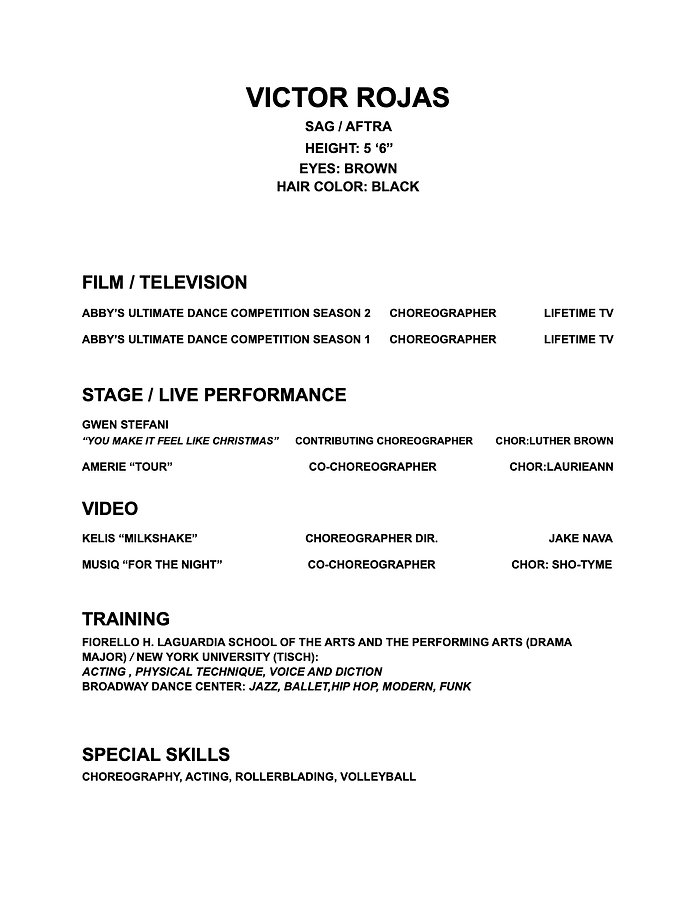 Victor'S CHOREOGRAPHY RESUME AS OF 2020