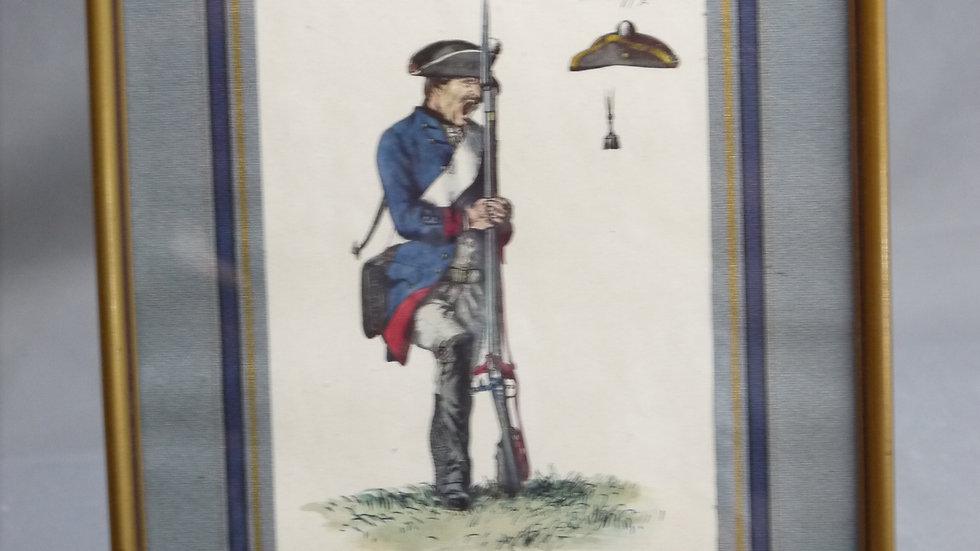 Sehr schöne, alte Lithographie eines Offiziers...