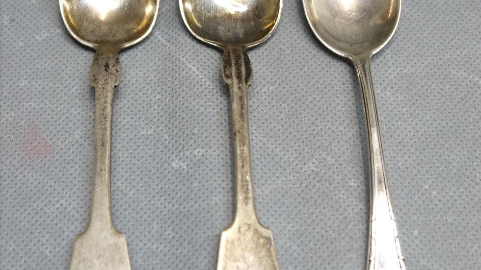 3 schöne, alte Tee-Löffel, 800er Silber.
