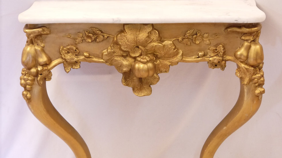 Sehr schöne Historismus-Konsole, vergoldet, mit Marmorplatte