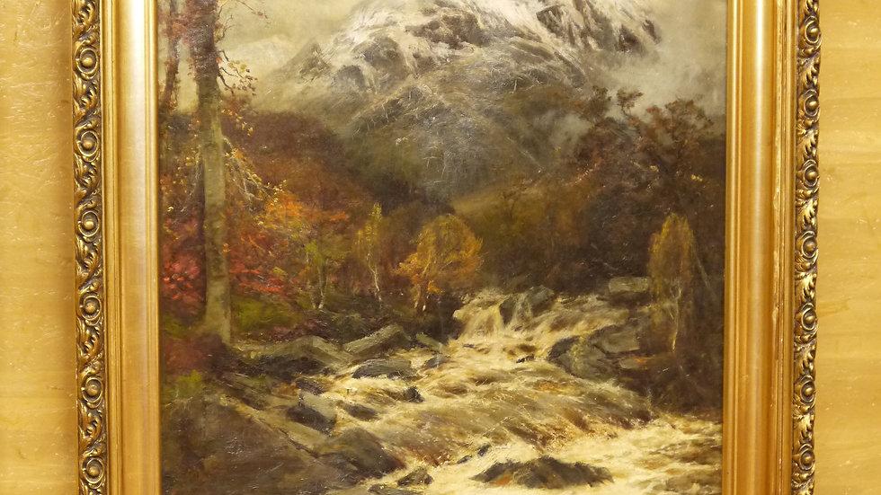 """Sehr schönes altes Ölgemälde """"Early Winter"""" im Goldrahmen"""