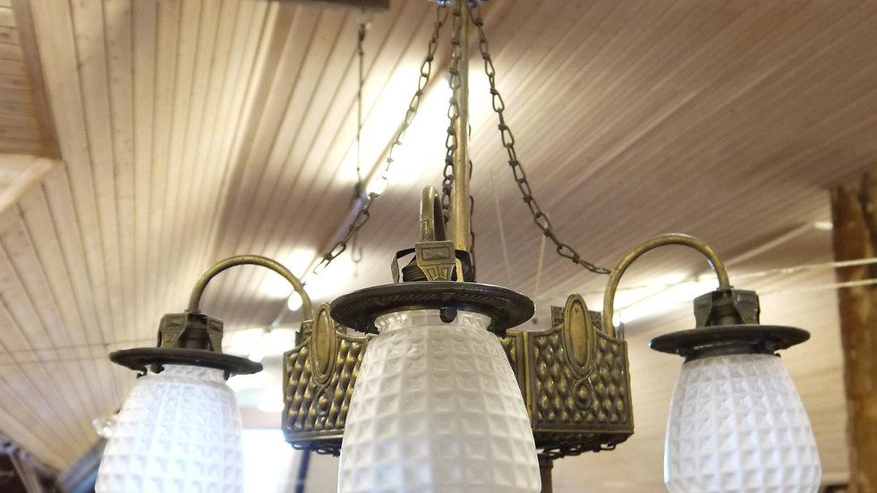 Sehr elegante Jugendstil-Deckenlampe, 5 flammig...