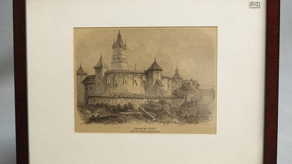 """Schöner, älterer Stich: """"Honigberger Castell""""..."""