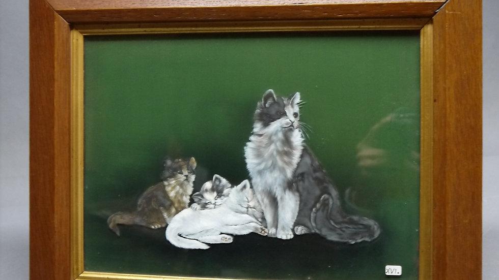 """Sehr schönes altes Wandbild """"Vier Katzen"""" um 1900..."""