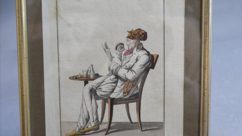 Sehr schöner Stich einer Theaterfigur, coloriert