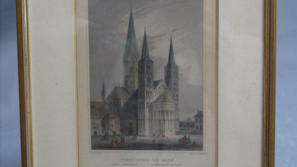Älterer, colorierter Stich: Domkirche zu Bonn, im Passepartout