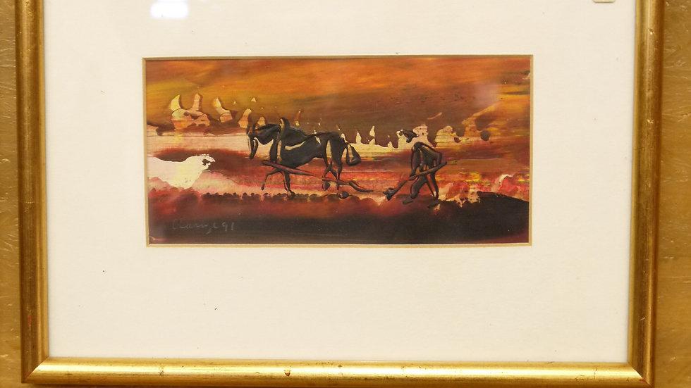 modernes Gemälde, goldfarbene Leiste...