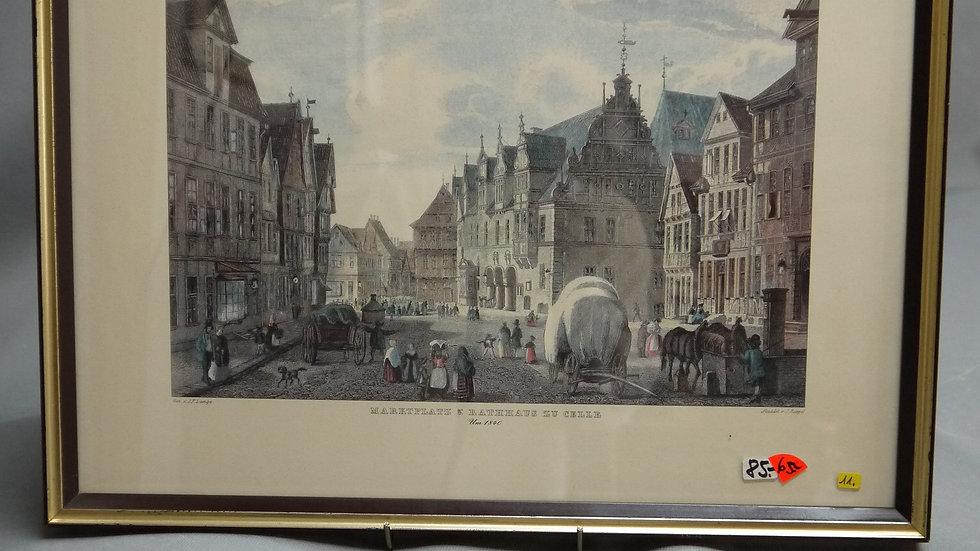 Ältere, colorierte Lithographie: Celler Marktplatz & Rathaus