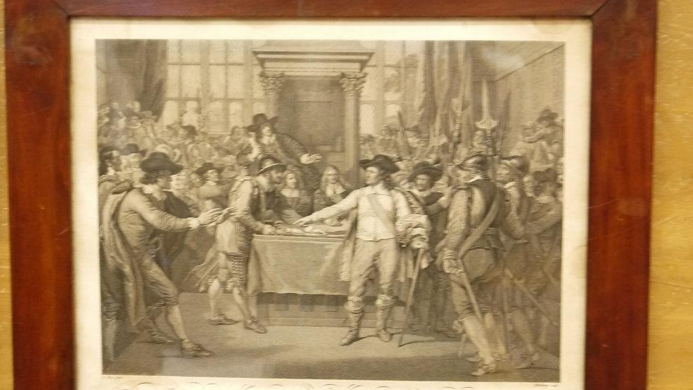 Schöner alter Stich: Oliver Cromwell..1599-1658 im Mahagoni-Rahmen