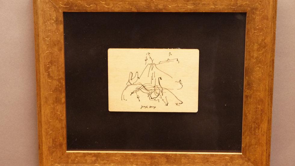 Zeichnung auf Holz, nach: Joseph Beuys, feine goldfarbene Rahmung!!!...