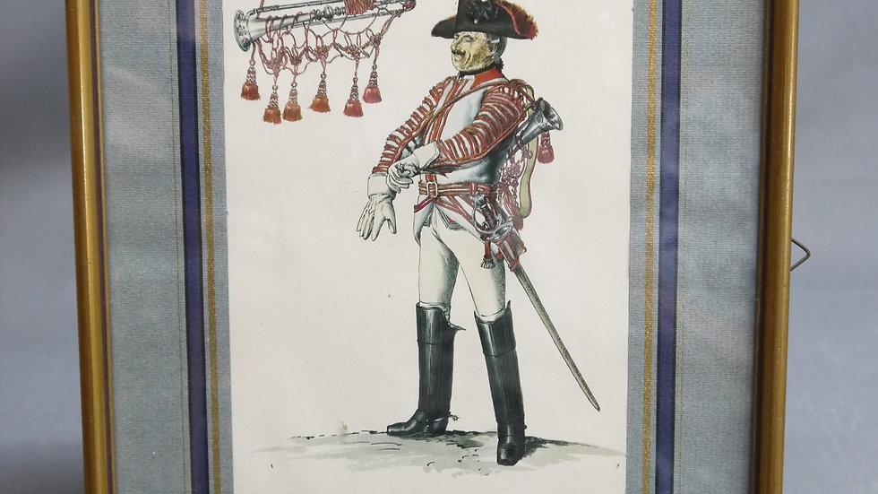 Sehr schöne color. Lithographie eines Offiziers...