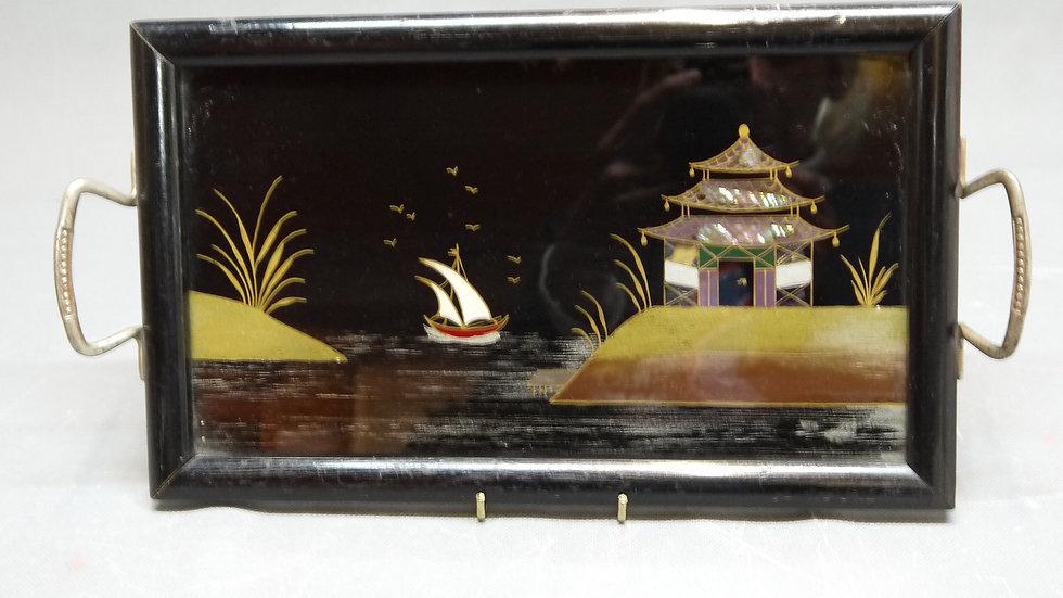 """Schönes, kleines Griff-Tablett, """"asiatische Szene"""", um 1900..."""