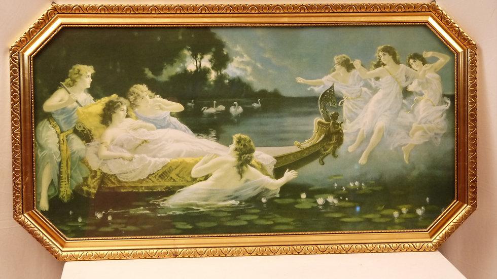 Sehr schönes altes Wandbild:  Mädchen am See