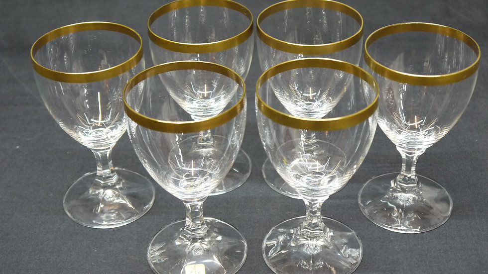 6 Stück sehr schöne, ältere Goldrand-Weingläser... -A-
