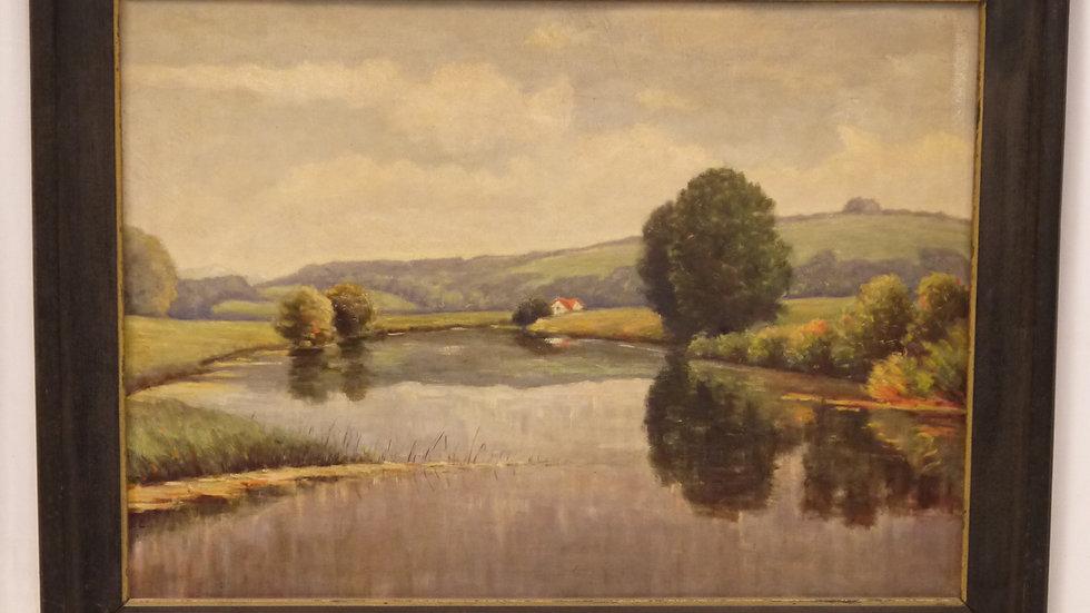 """Schönes altes Ölgemälde """"Flußlandschaft"""" im stilvollem Eichenrahmen"""