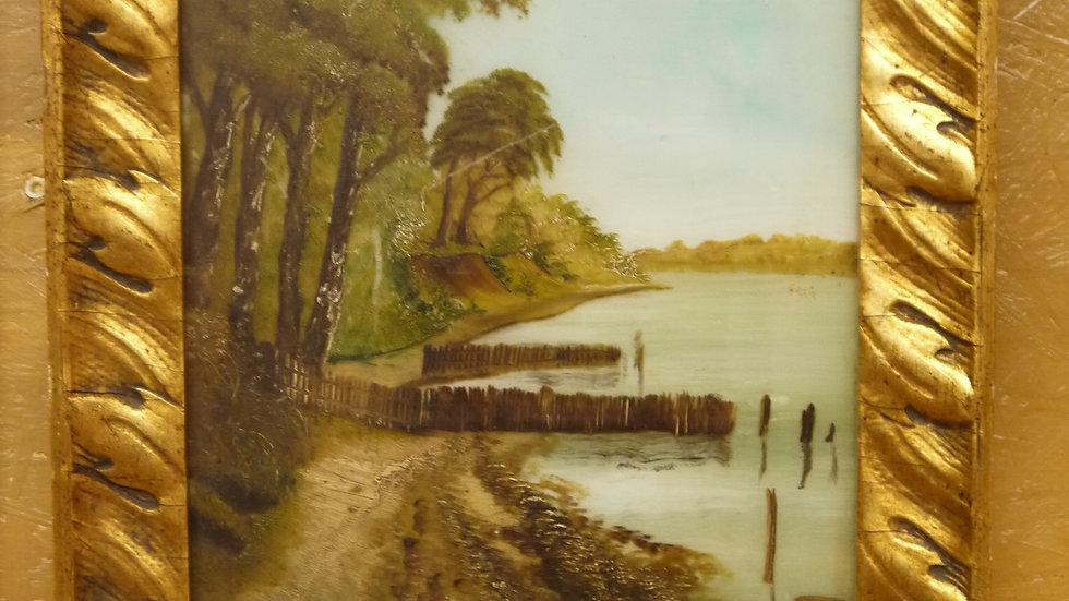Stilvolles altes Wandbild, auf Glas gemalt: Küstenlandschaft