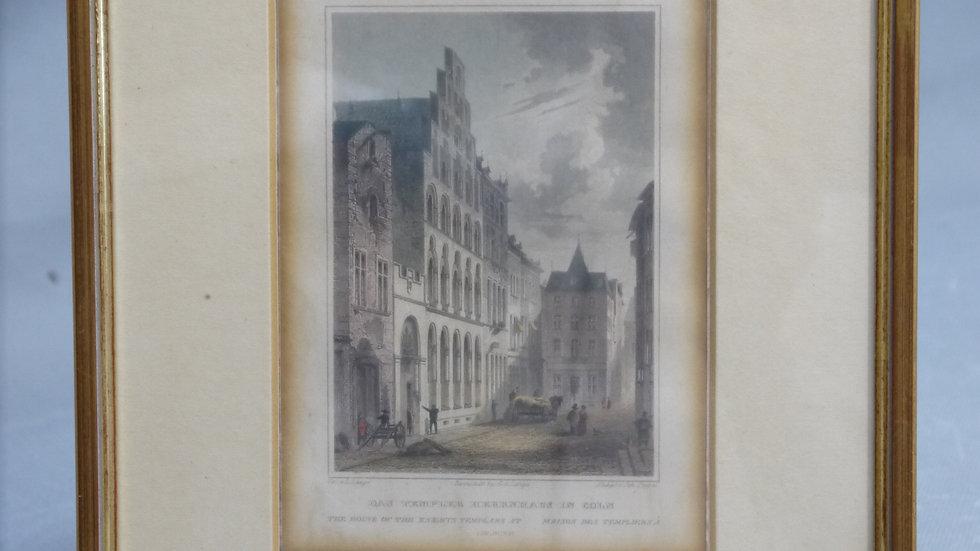 Schöner älterer, color. Stich: Das Templer Herrenhaus.