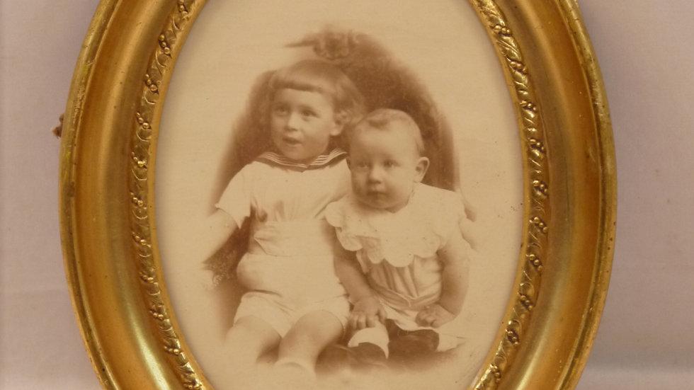 "Schöner alter Stuk-Rahmen: ""Kinderportrait"" um 1900..."