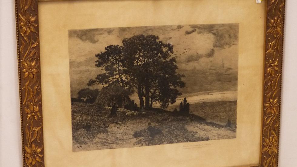 """Sehr schönes altes Wandbild im """"Jugendstil"""" Rahmen, um 1900"""