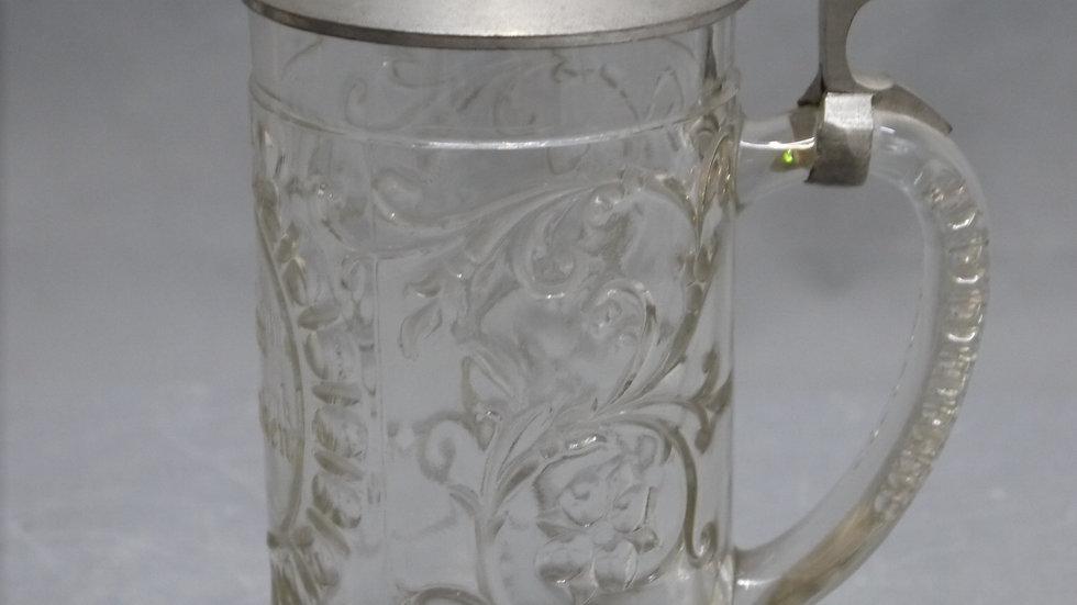 """Schöner, alter """"Andenken"""" Bierkrug, mit Zinndeckel um 1900..."""
