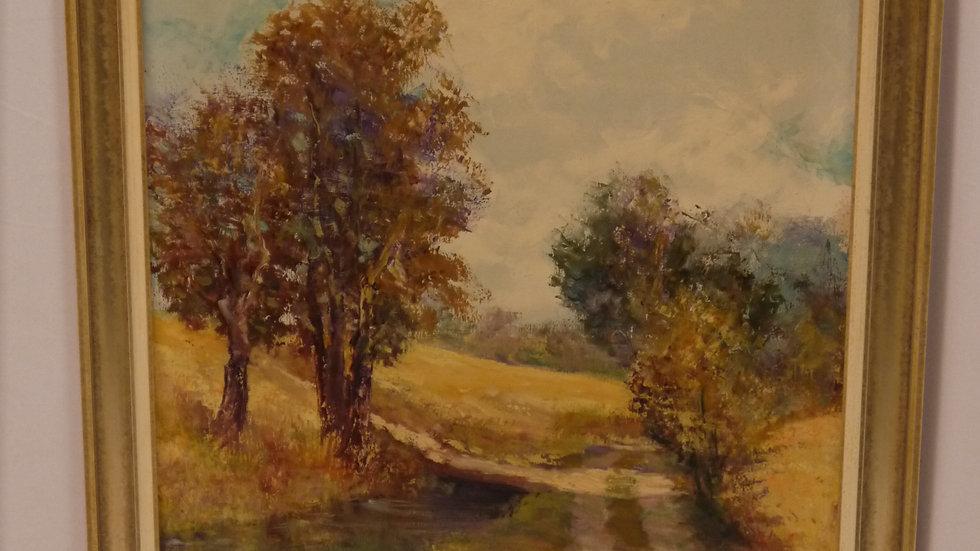 """Sehr stilvolles Gemälde: """"Herbstlandschaft"""", Öl auf Leinwand, signiert"""