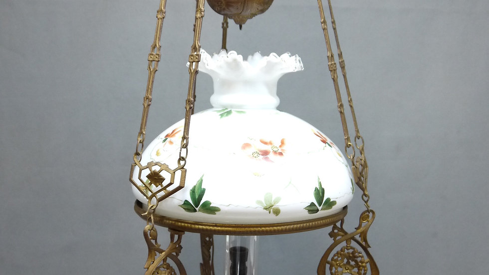 """Sehr schöne, alte """"Jugendstil-Petro-Deckenlampe"""", Majolika, um 1895/1910..."""