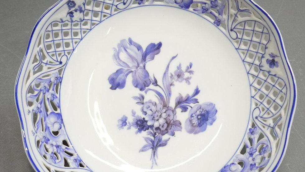 Stilvolle, runde Porzellan-Schale, blaues Blumendekor...
