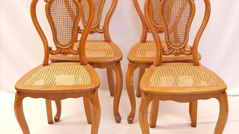 Sehr schöner 4er Satz Eschen-Stühle, Louis Philippe ...