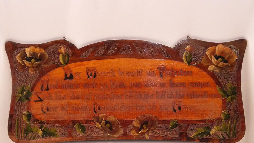 Schöner, älterer Wandspruch / Holzbild, Jugendstil um 1895/1910