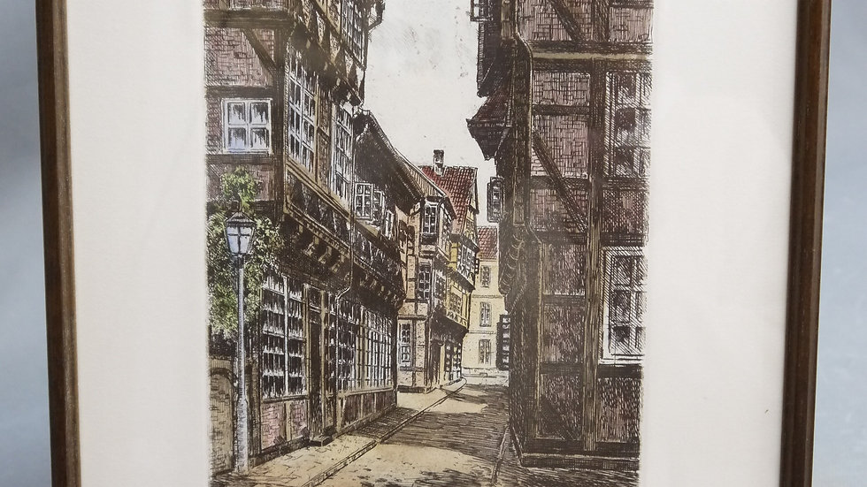 Schön colorierte, originale Radierung: CELLE: Kalandgasse...