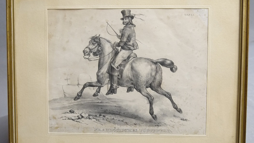 Schöner, alter Stich:  Französisches Postpferd...