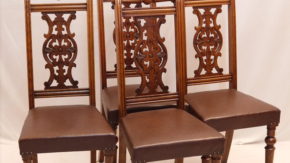 4 stilvolle Historismus-Stühle, Leder bezogen, nußbaumfarben, um 1880...