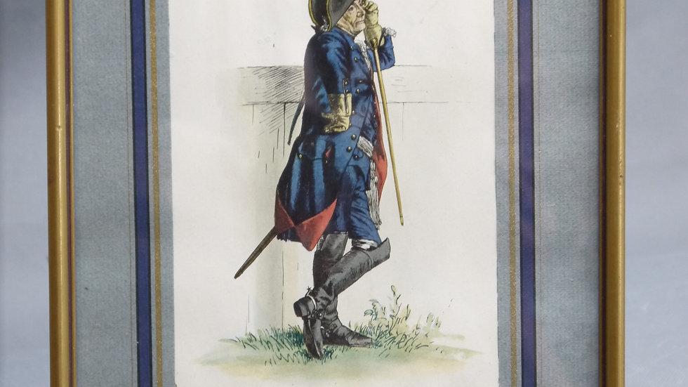 Sehr schöne, colorierte Lithographie. Offizier II