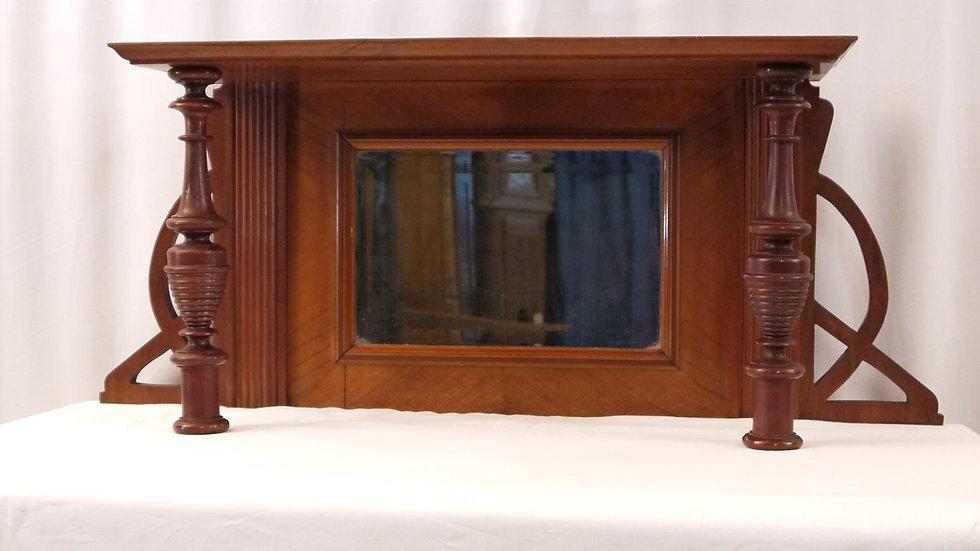 Sehr schöner Vertiko-Spiegel-Aufsatz, Nußbaum, Jugendstil um 1895/1910