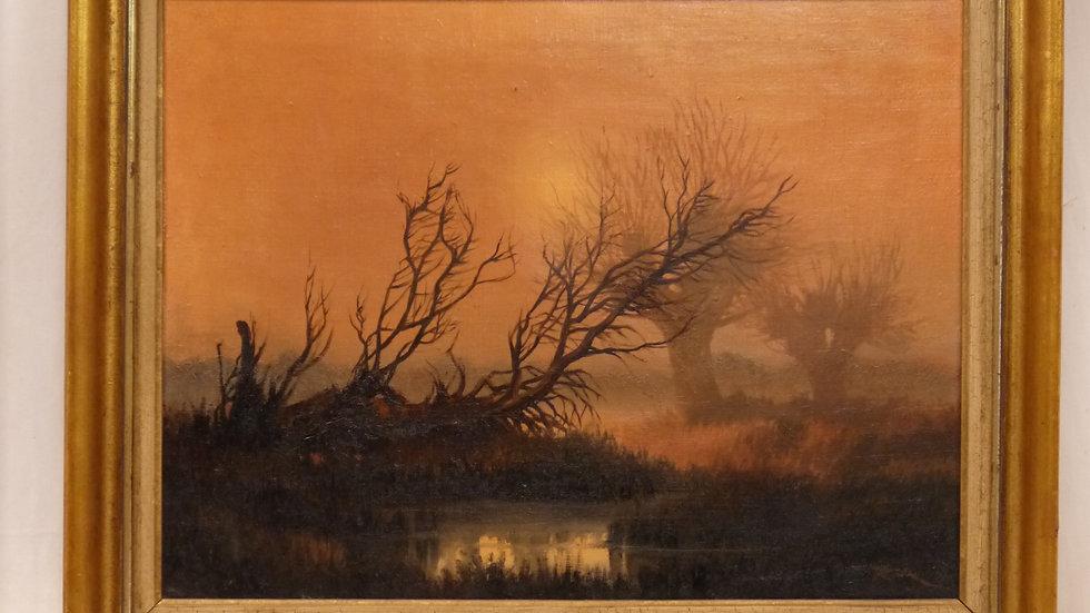 """Sehr stilvolles Gemälde """"Sonnenuntergang im Moor"""""""