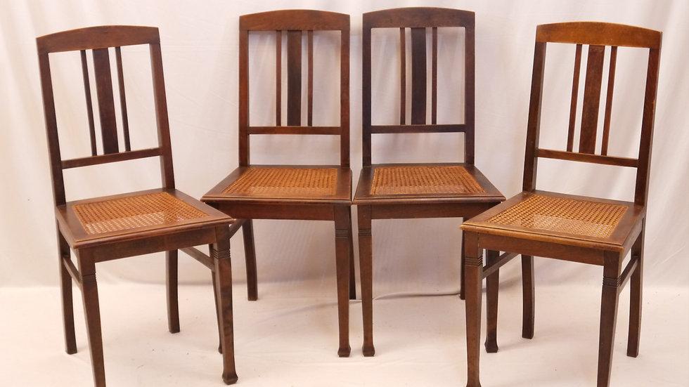 Schöner alter 4er Satz Korbgeflecht-Stühle um 1900...