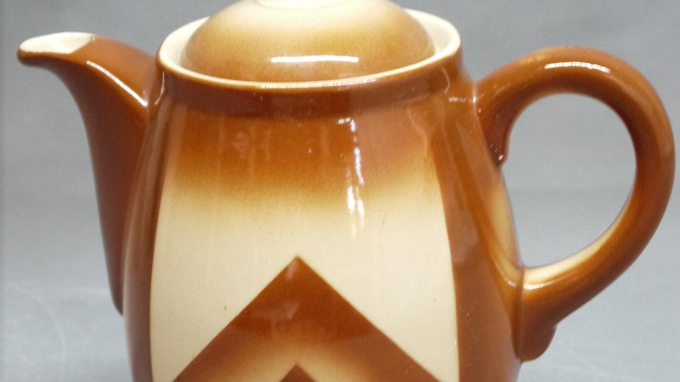 große Kaffeekanne, Bunzlauer-Keramik, braunes Spritzdekor, um 1920/1930