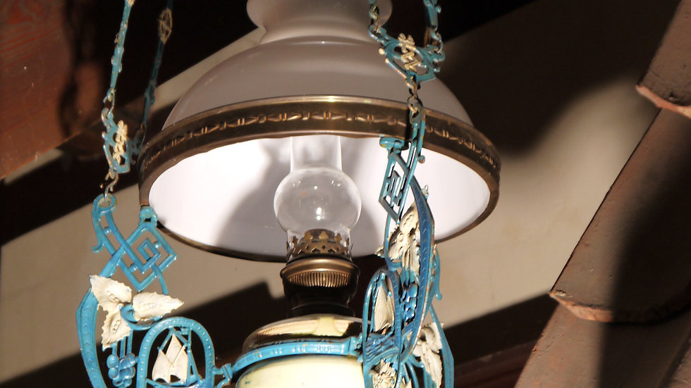 """Sehr schöne """"Jugendstil-Deckenlampe"""": Majolika, um 1900/10"""