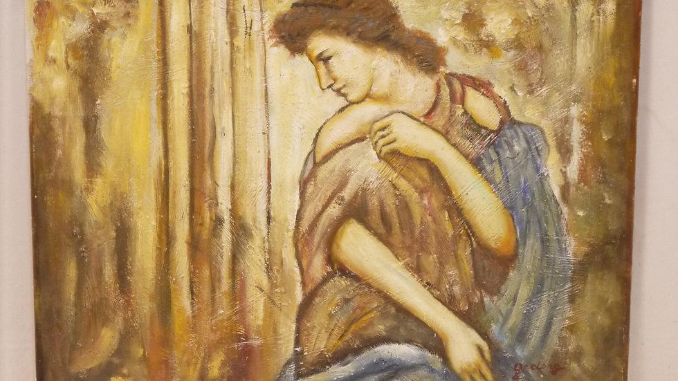 Stilvolles älteres Wandbild, Öl auf Leinwand...