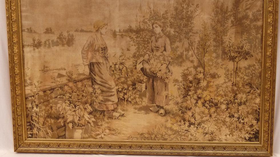 Stilvoller, alter Gobelin: ďapres Daniel Ridgway Knight, goldfarbene Leiste