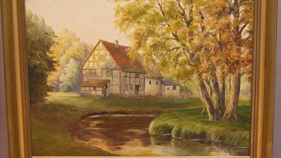 """Sehr schönes altes Gemälde """"Haus am Bachlauf""""..."""