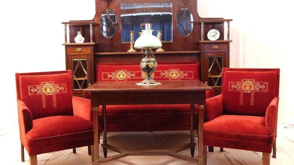 Schöner Jugendstil-Salon: Sofa mit Umbau & Sesseln, & Tisch