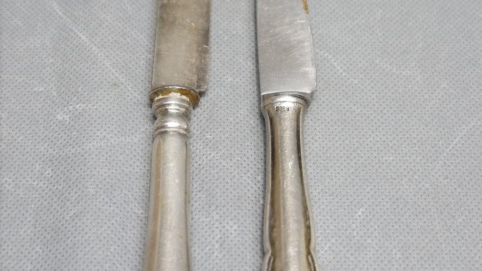 2 schöne alte Messer, Silber, versilbert