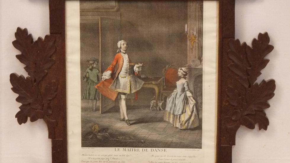 """Älterer Stich:""""Barocke Szene"""" dat.1745, Eichenrahmen"""
