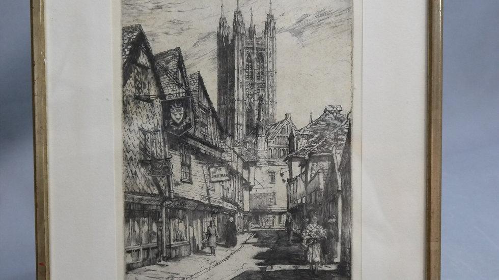 """Sehr schöner Stich """"Butchery Lane, Canterbury"""""""