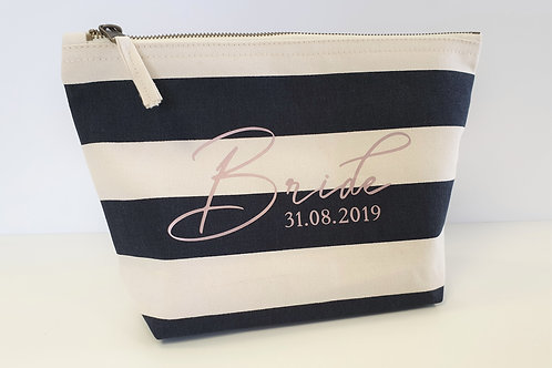 Bride To Be Nautical Make Up Bag Personalised In Rose Gold Print With Date