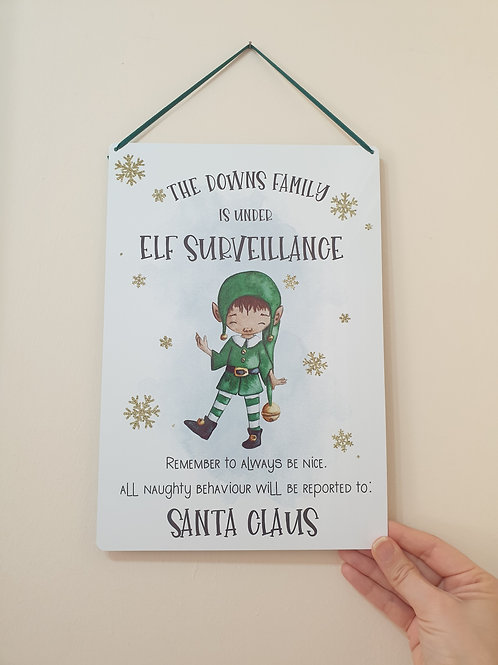 Personalised Elf Surveillance Christmas Hanging Sign