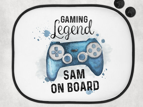 Personalised Gamer Car Sun Shade - Playstation - X-Box - Switch - Baby On Board