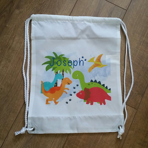 Boy's Personalised Dinosaur Drawstring Bag